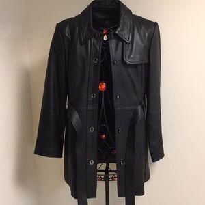 Soft Black Leather Coat Belt SZ M